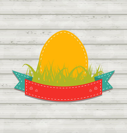 pascua: Illustration vintage label with Easter egg on wooden background - vector