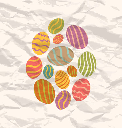 pascua: Illustration set Easter eggs, vintage celebration background - vector Illustration