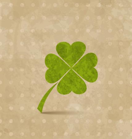 Illustration vintage design with four-leaf clover for St. Patricks Day - vector Vector