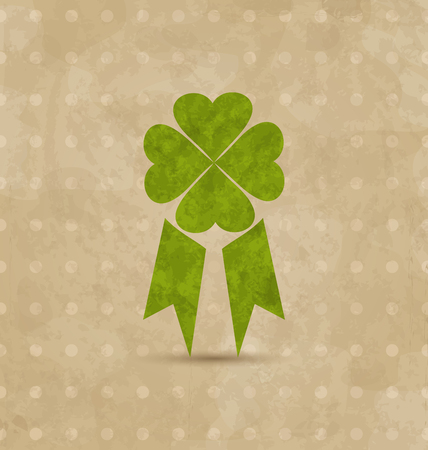 Illustration award ribbon with four-leaf clover for St. Patricks Day, retro design - vector Vector