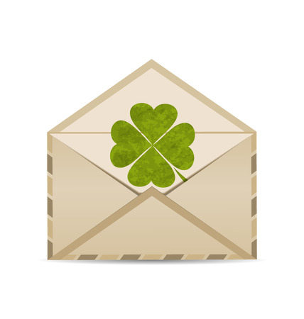 enveloppe ancienne: Illustration vieille enveloppe avec le tr�fle isol� sur fond blanc pour le jour de la Saint-Patrick - vecteur