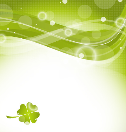 Illustration abstract wavy background with clover for St. Patrick's Day - vector Vector
