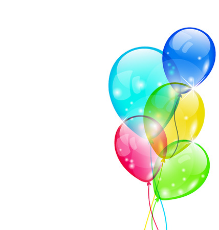 Illustration flying colorful balloons isolated on white background - vector