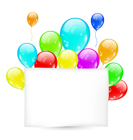 Illustration birthday card with colorful balloons with space for text - vector Vector