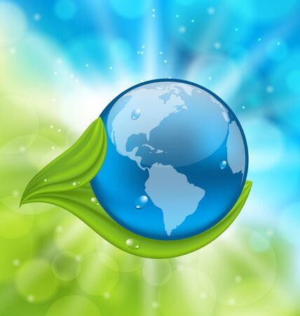 Illustration planet Earth with green leaves - vector Vector