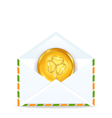 Illustration envelope with golden coin for St. Patricks Day - vector Vector