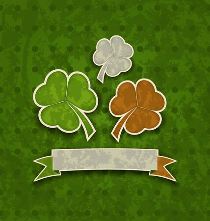 Illustration holiday background with clovers in Irish flag color for St. Patrick's Day - vector Vector
