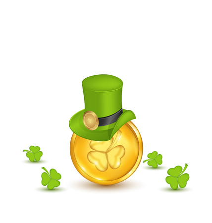 Illustration background with hat, clovers and coins in saint Patrick Day - vector Vector