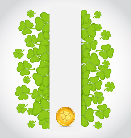 Illustration celebration card with clovers and golden coins for St. Patricks Day - vector Vector