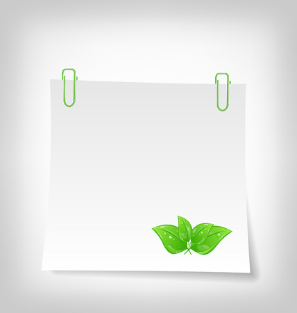 blank note: Illustration blank note paper with green leaves, isolated on white background - vector