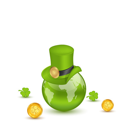 Illustration planet Earth with hat, clovers and coins in saint Patrick Day. Vector
