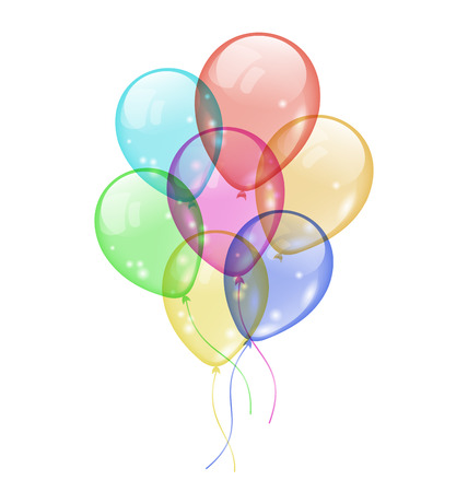 Illustration bunch colorful balloons isolated on white background Vector