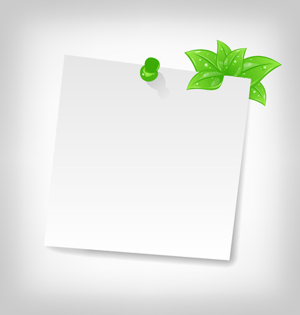 blank note: Illustration blank note paper with green leaves and space Illustration