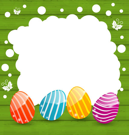Illustration holiday card with Easter colorful eggs - vector