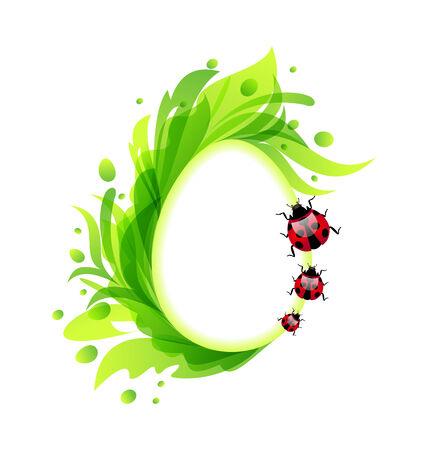 ostern: Illustration Easter flourish egg with ladybirds - vector