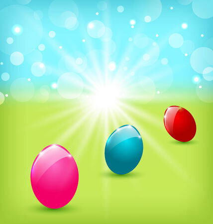 Illustration Easter background with colorful eggs - vector Vector