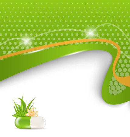 remedy: Illustration background for medical theme with green pill, flower, leaves, grass - vector