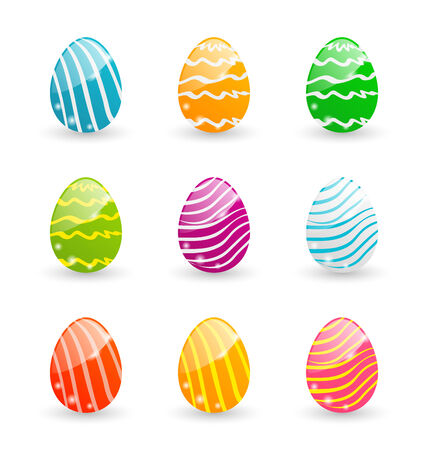 pascua: Illustration Easter set colorful ornamental eggs isolated on white background - vector Illustration