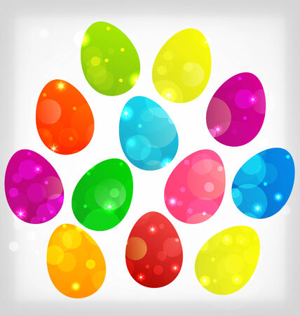 pascua: Illustration Easter background with colorful eggs - vector