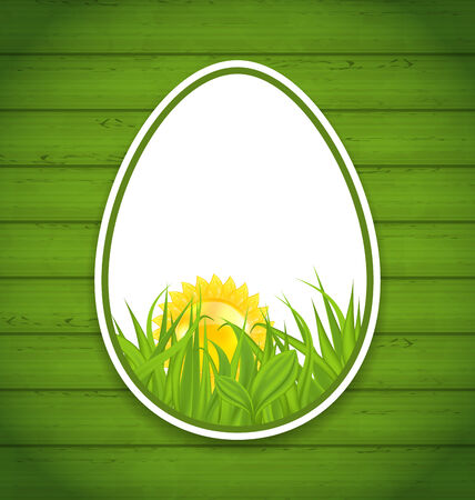 pascua: Illustration Easter paper sticker eggs on wooden background - vector