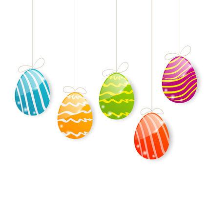 ostern: Illustration Easter colorful eggs on white background - vector Illustration
