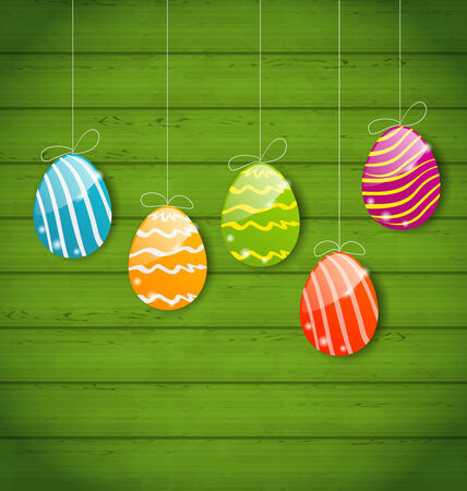 Ostern: Illustration Easter colorful eggs on wooden texture - vector