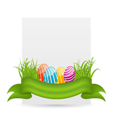 paschal: Illustration Easter colorful eggs in green grass with empty paper card for your text - vector