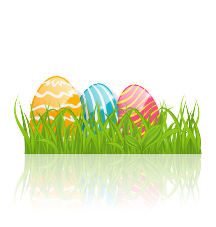 paschal: Illustration Easter background with paschal ornamental eggs  - vector Illustration