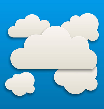 ร   ร   ร   ร  ร ยข  white clouds: Illustration paper white clouds, sky background - vector Illustration