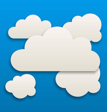 nubes cielo: Ilustraci�n de papel blancas nubes, el cielo de fondo - vector Vectores