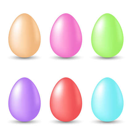 pascua: Illustration Easter set painted eggs isolated on white background - vector
