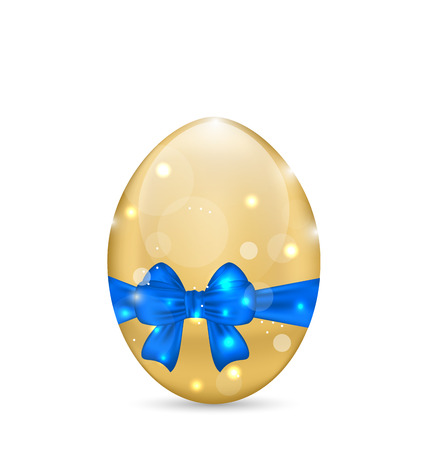 paschal: Illustration Easter paschal egg with blue bow, isolated on white background - vector Illustration