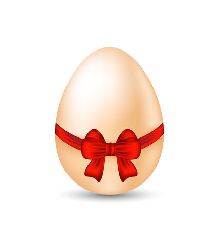 pascua: Illustration Easter celebration egg wrapping red bow - vector