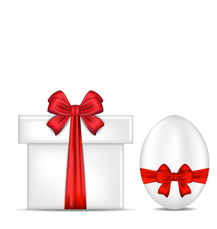 pascua: Illustration Easter gift box with red bow and egg - vector Illustration