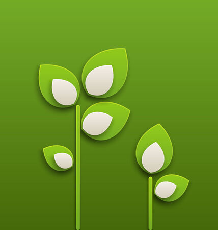 Illustration abstract paper green plants, ecology background - vector Vector