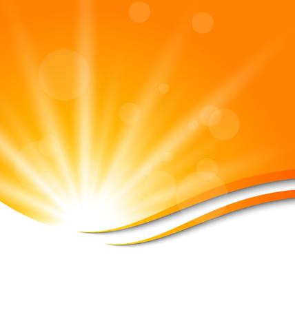 Illustration abstract orange background with sun light rays   Ilustração