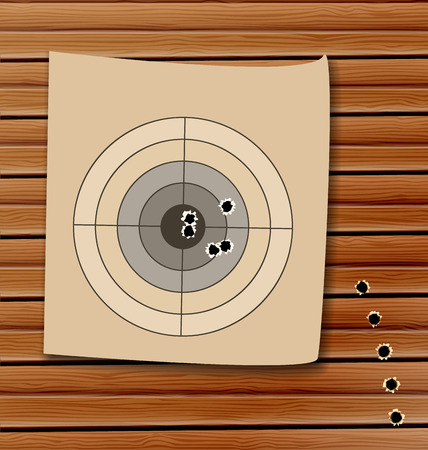 Illustration shooting range target with bullet holes   Vector