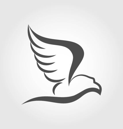 Illustration  flying eagle in the form of the stylized tattoo  Vector