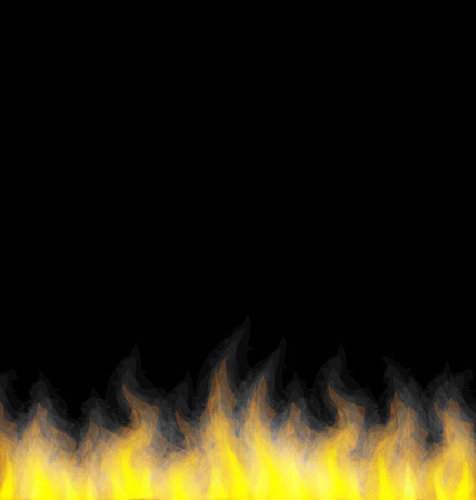 Illustration burning fire flame on black background
