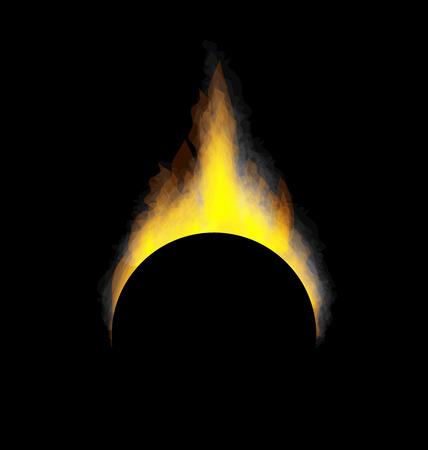 incendiary: Illustration burning fire flame on black background