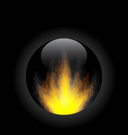 incendiary: Illustration fire flame in circle frame  Illustration