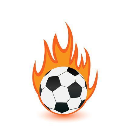 fuoco e fiamme: Illustrazione di calcio in fiamme di fuoco arancione