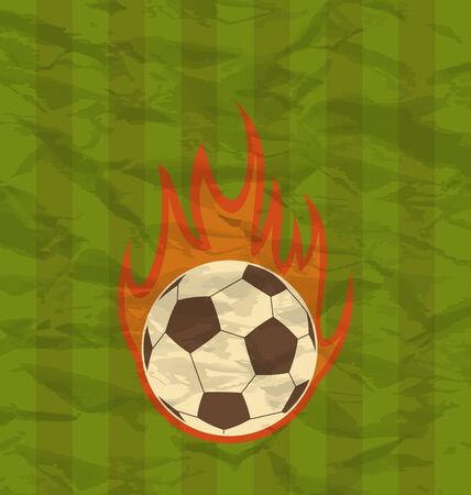 fuoco e fiamme: Illustrazione retr� volantino di calcio con la palla in fiamme di fuoco