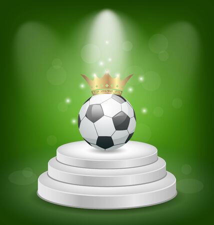 Illustration football with golden crown on white podium  Vector