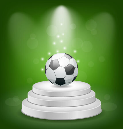 Illustration football  on white podium with light   Vector