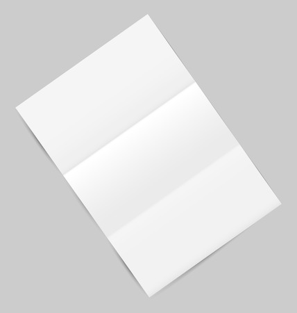 Illustration empty paper sheet with shadows, isolated on gray background  Vector