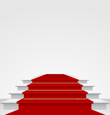 Illustration stairs covered with red carpet  Vector