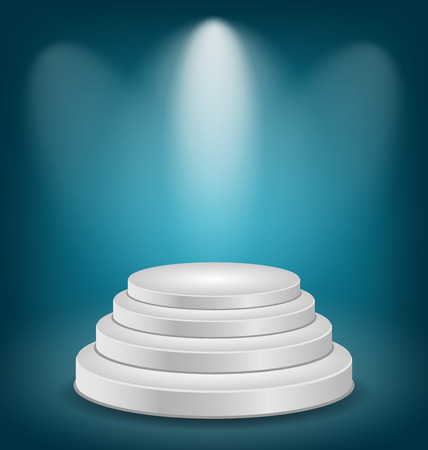 Illustration empty white podium with light  Vector