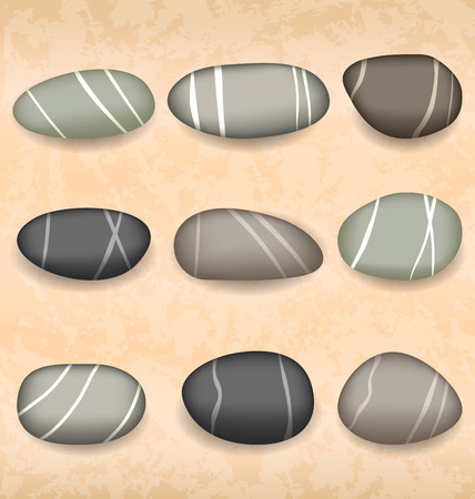 Illustration sea pebbles collection on sand background  Vector