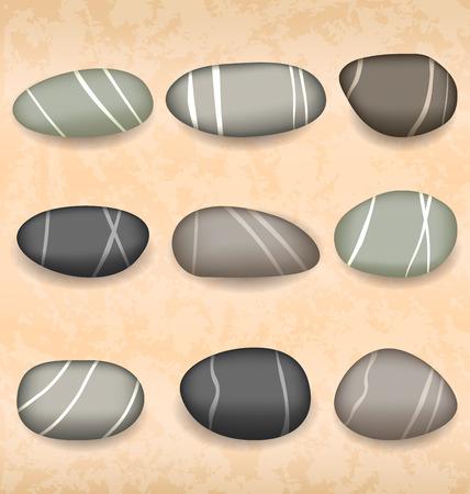 flint: Illustration sea pebbles collection on sand background